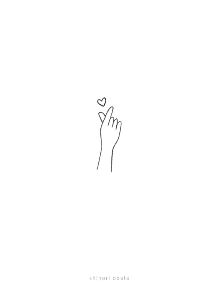 heart hand gesture drawing doodle
