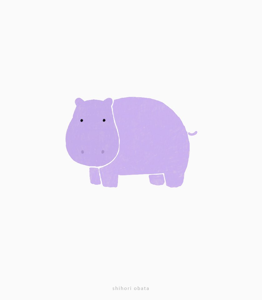 cute simple hippo drawing