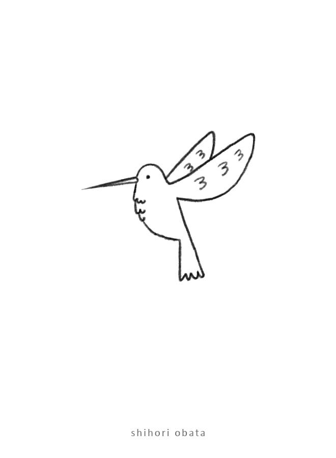 hummingbird drawing art easy