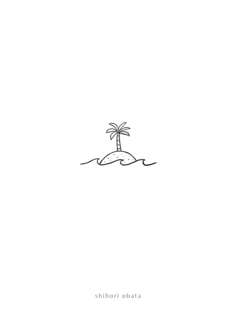 island doodle drawing easy