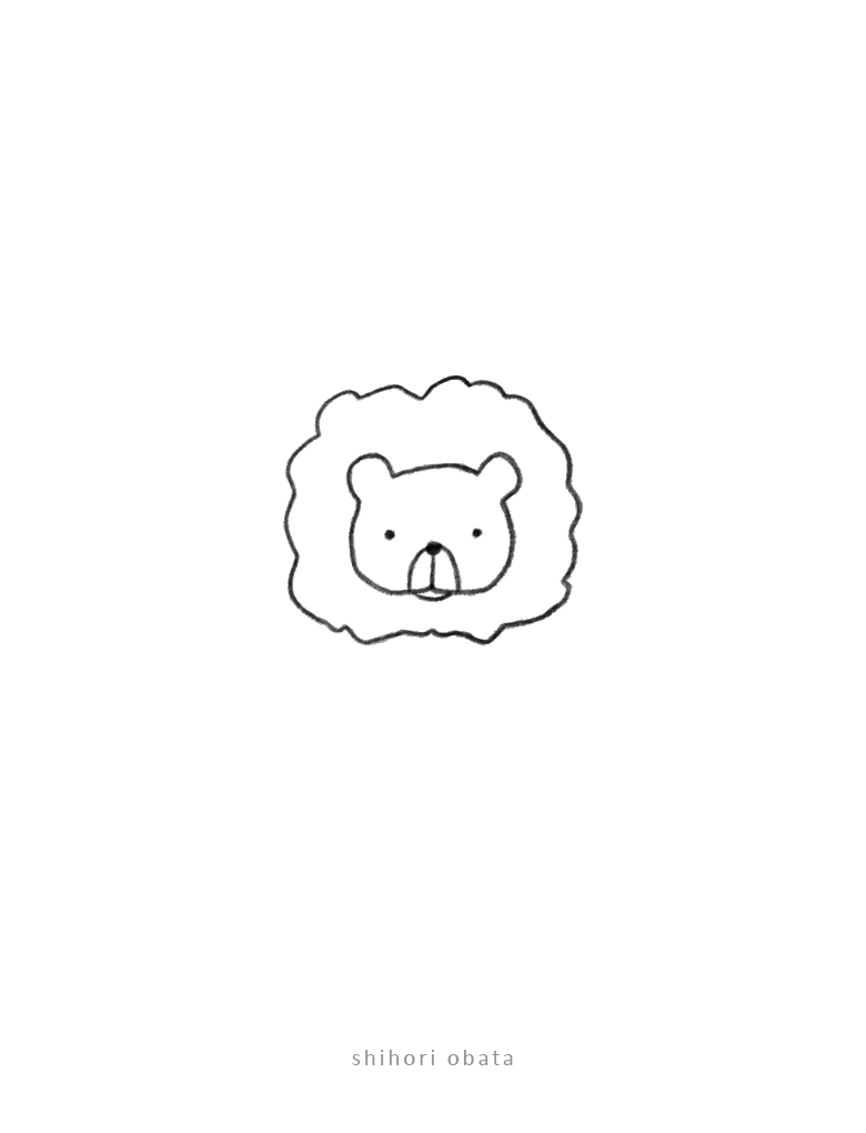 lion doodle drawing simple cute