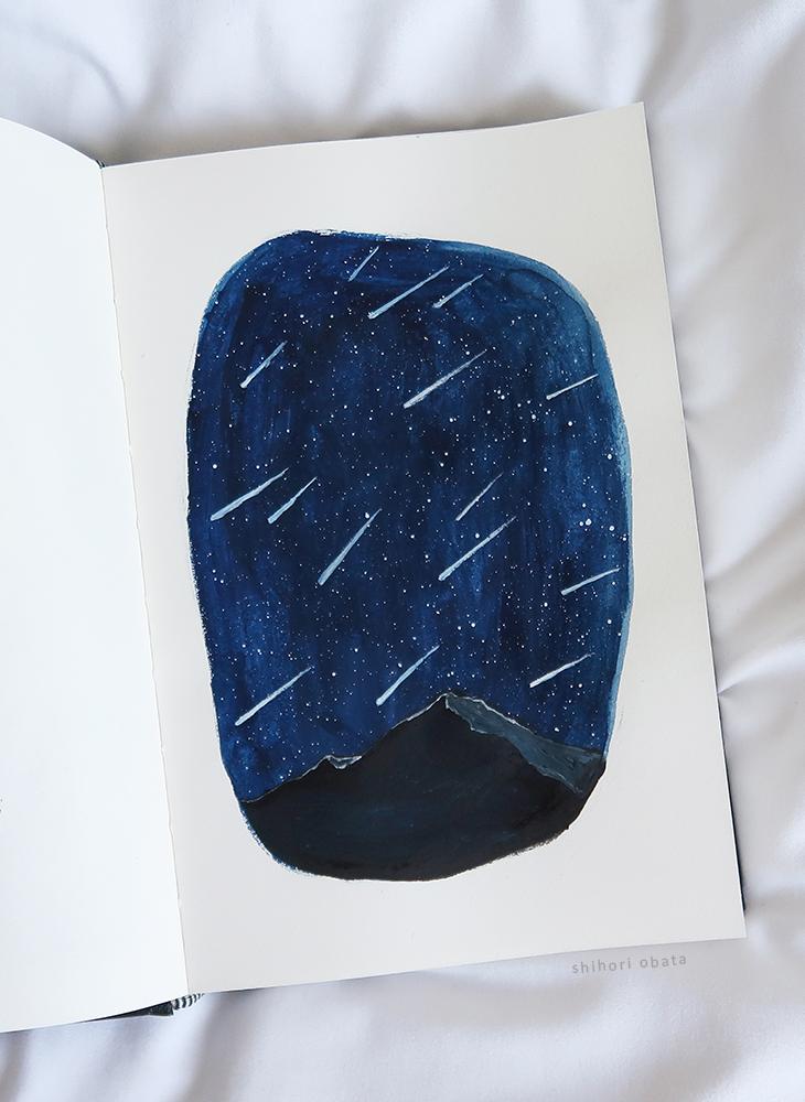meteor shower painting shooting stars