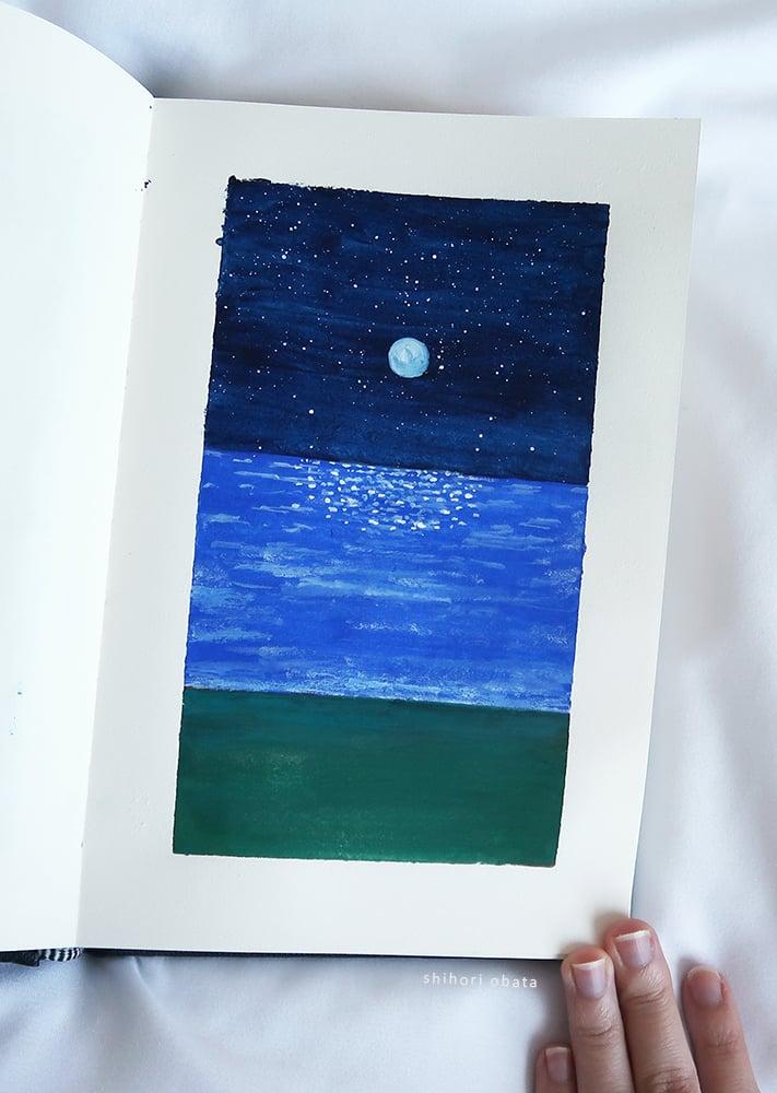 easy gouache painting ocean