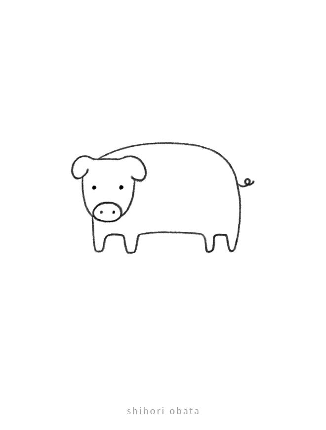 easy pig drawing cute