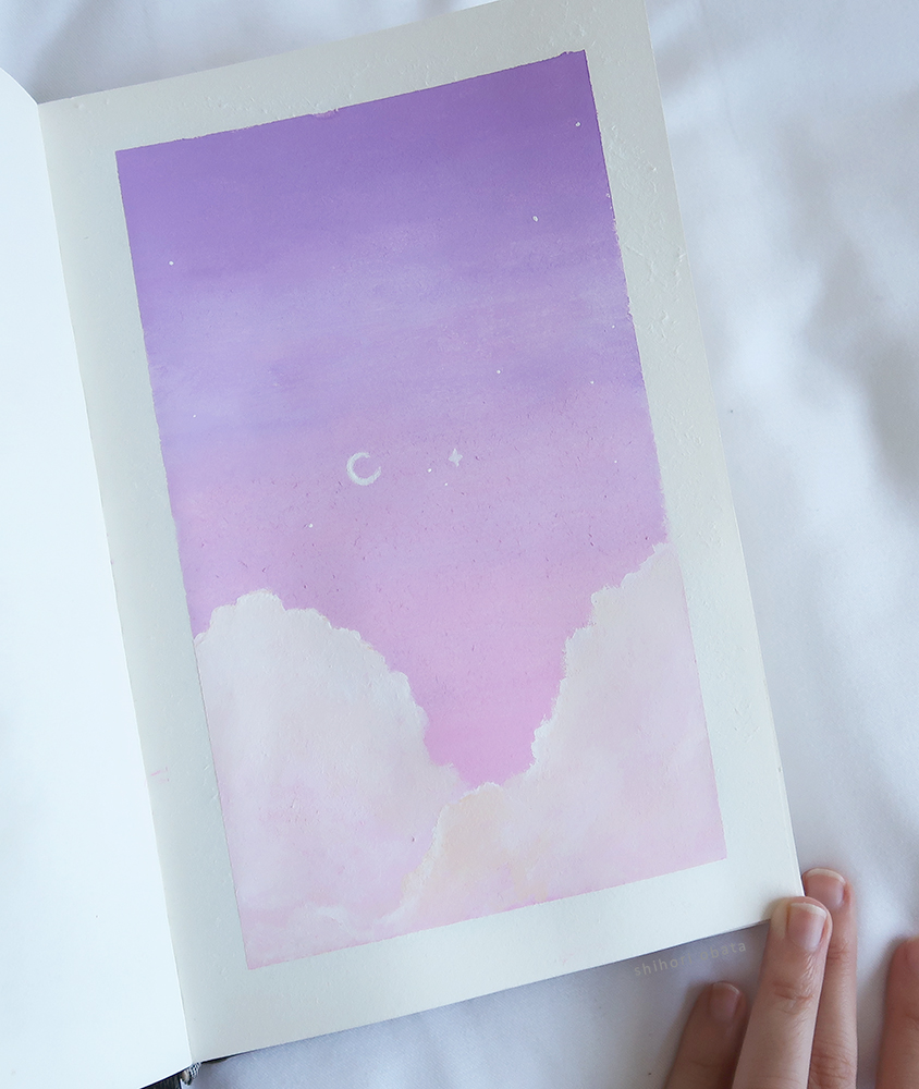 Pink Sky Clouds Moon easy Painting