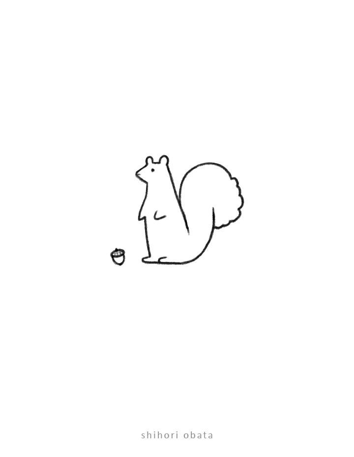 squirrel drawing easy