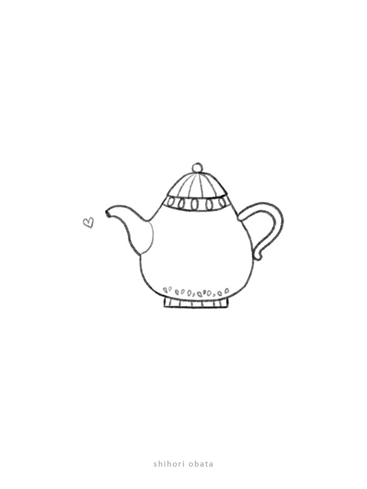 easy simple teapot drawing
