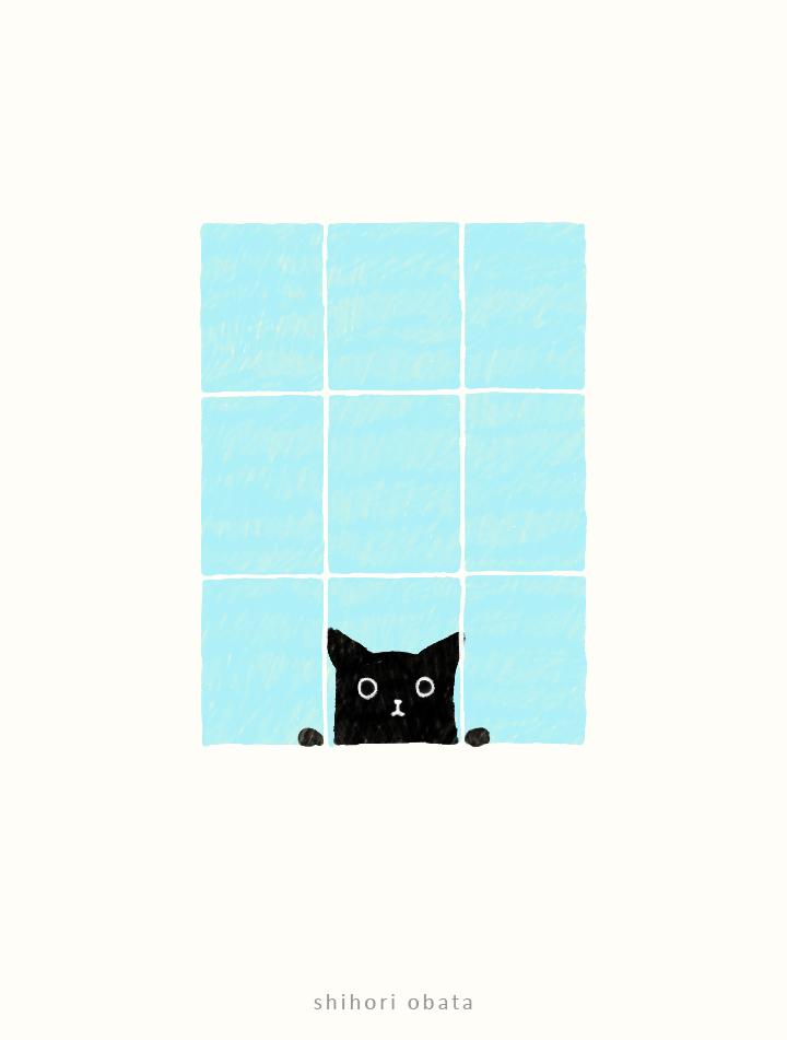 window drawing cat