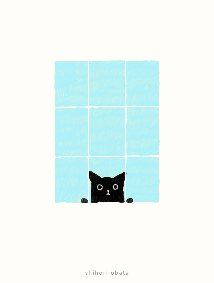 window drawing cat