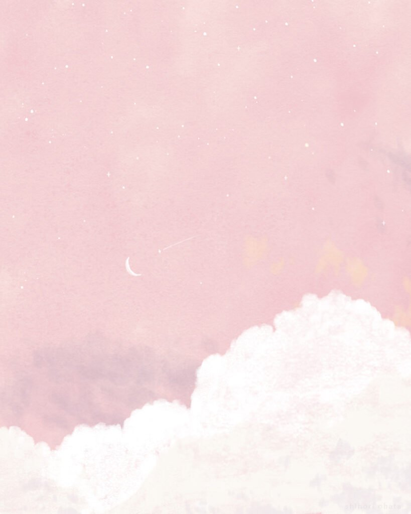 aesthetic pink clouds illustration digital drawing