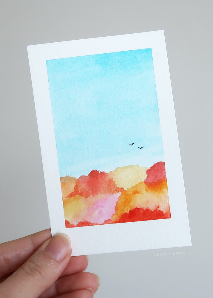 fall autumn trees leaves watercolor painting