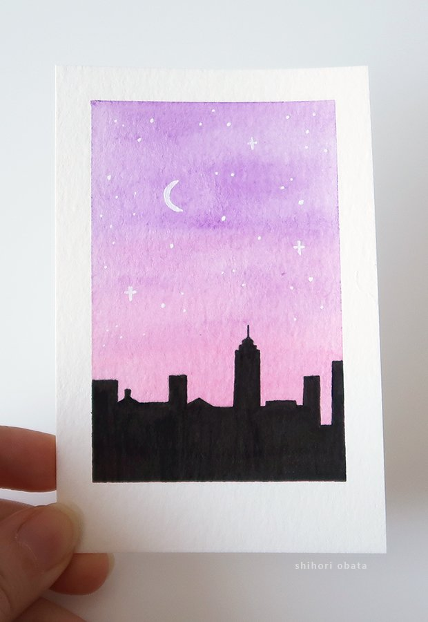 cityscape watercolor painting
