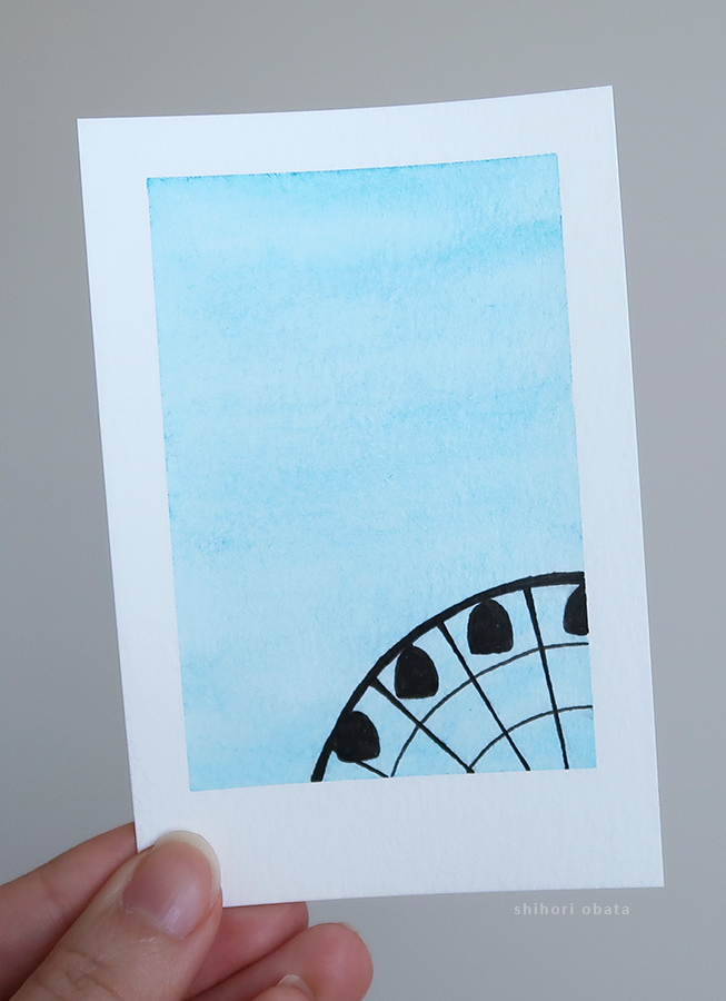 ferris wheel watercolor painting