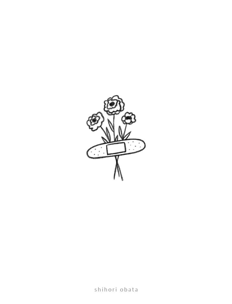 flower bandaid drawing