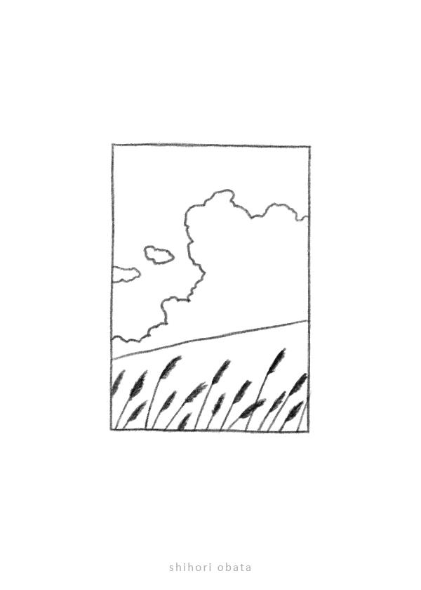 grassy field drawing easy