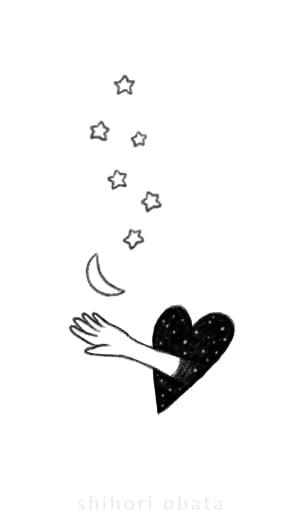 hand hole drawing moon stars