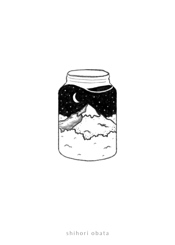 simple easy things to draw jar mountain drawing