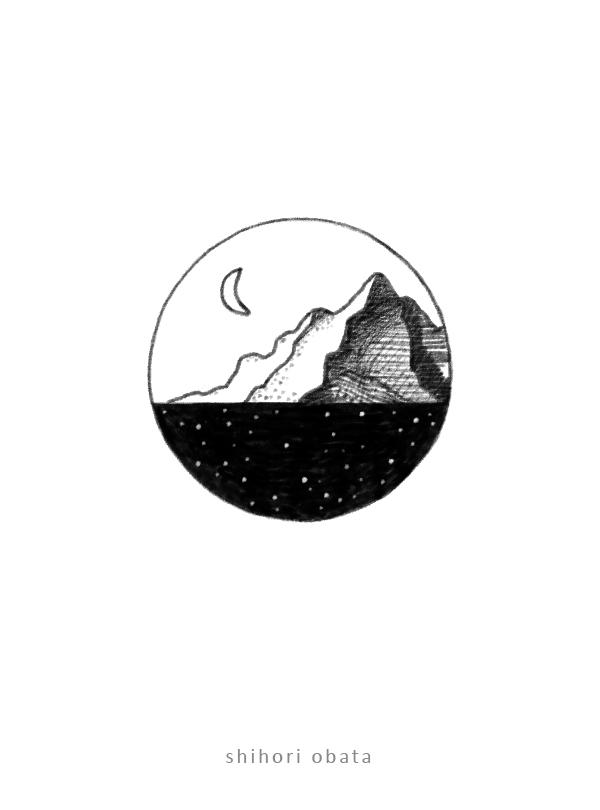 circle drawing easy mountain