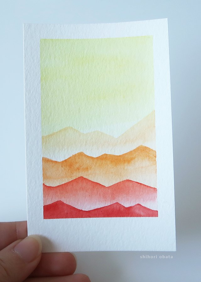 Mountain easy watercolor painting