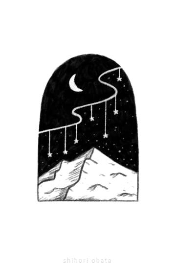 mountain shooting star drawing