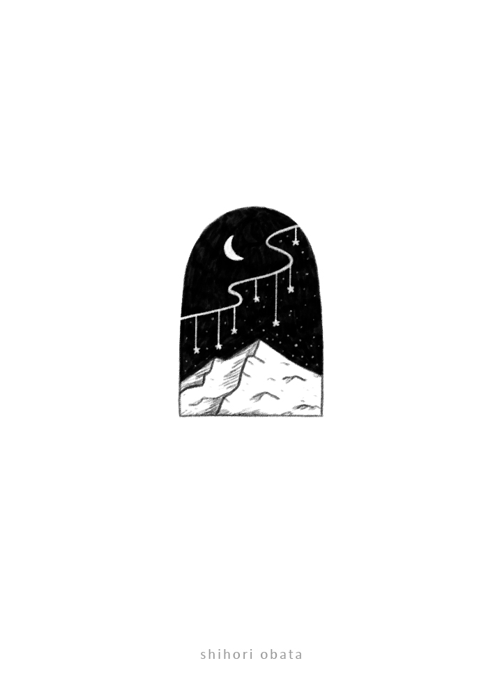 mountain with stars drawing