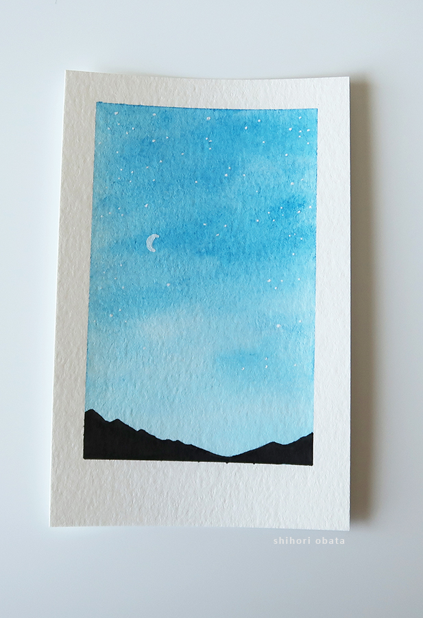 night sky watercolor painting
