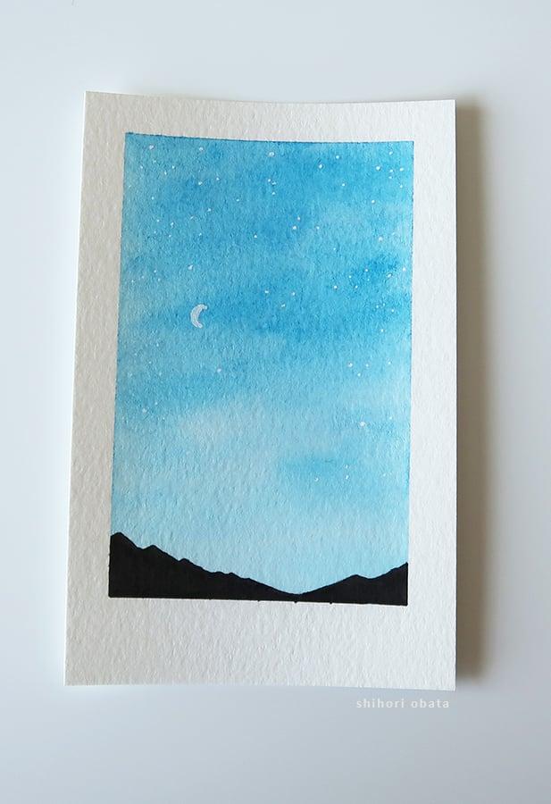 night sky watercolor painting