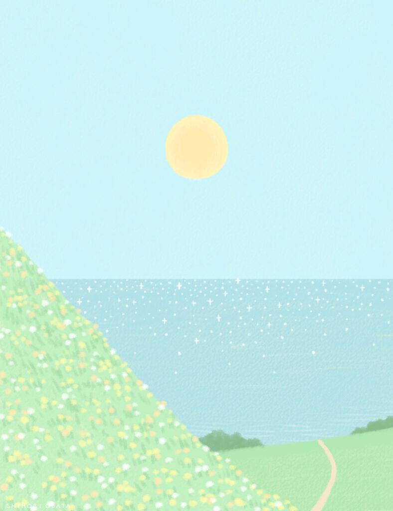 ocean view drawing digital art painting illustration