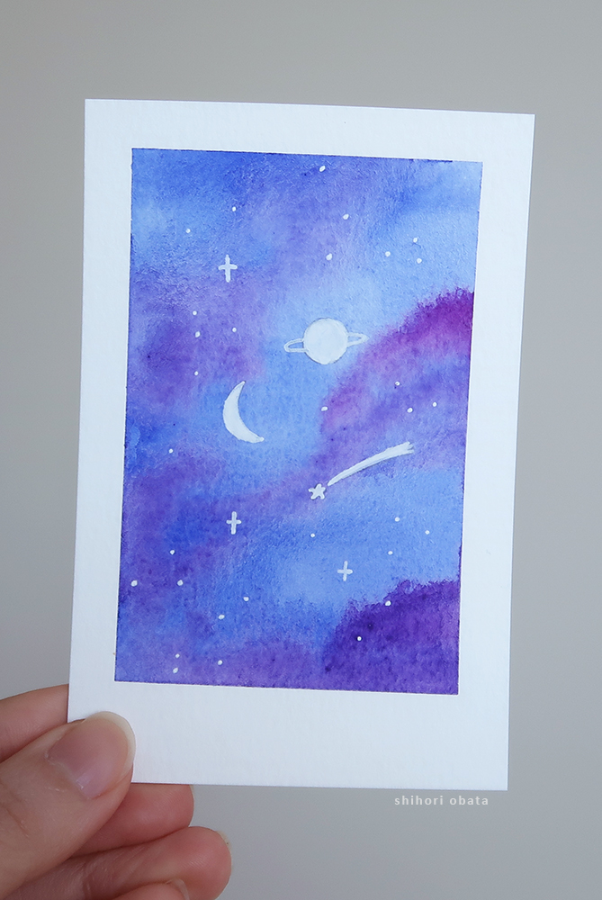 planet watercolor painting space