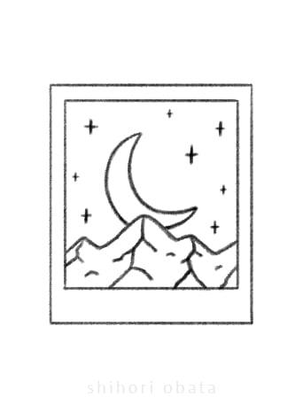 polaroid mountain moon drawing