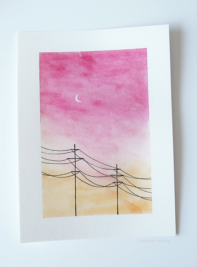 powerlines watercolor painting easy