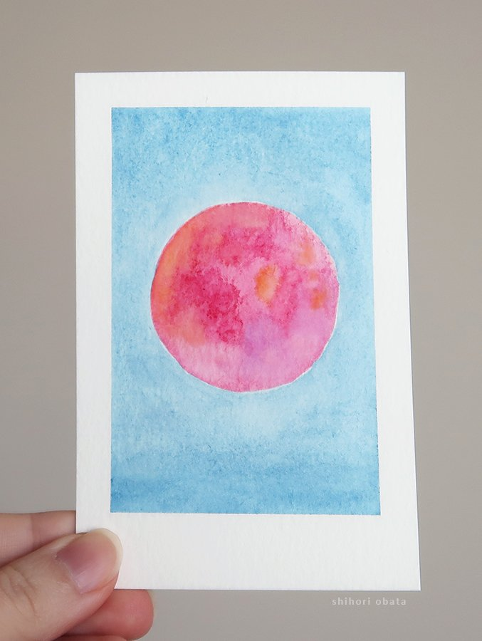 red moon watercolor painting