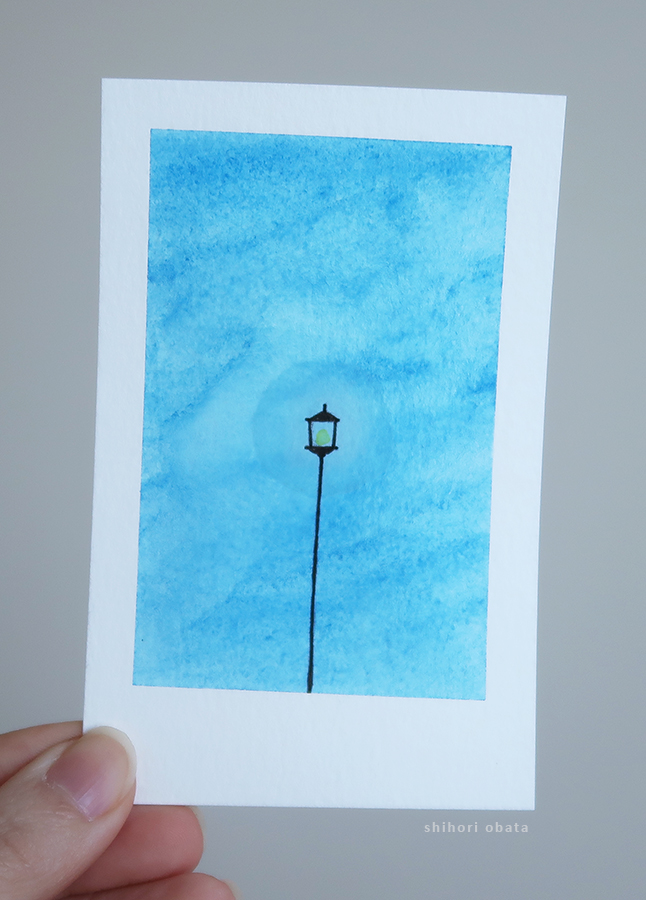street lamp watercolor painting