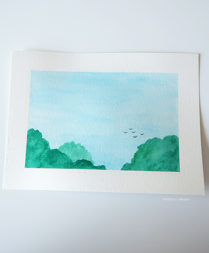 treetop watercolor painting