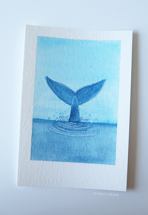 whale easy watercolor painting
