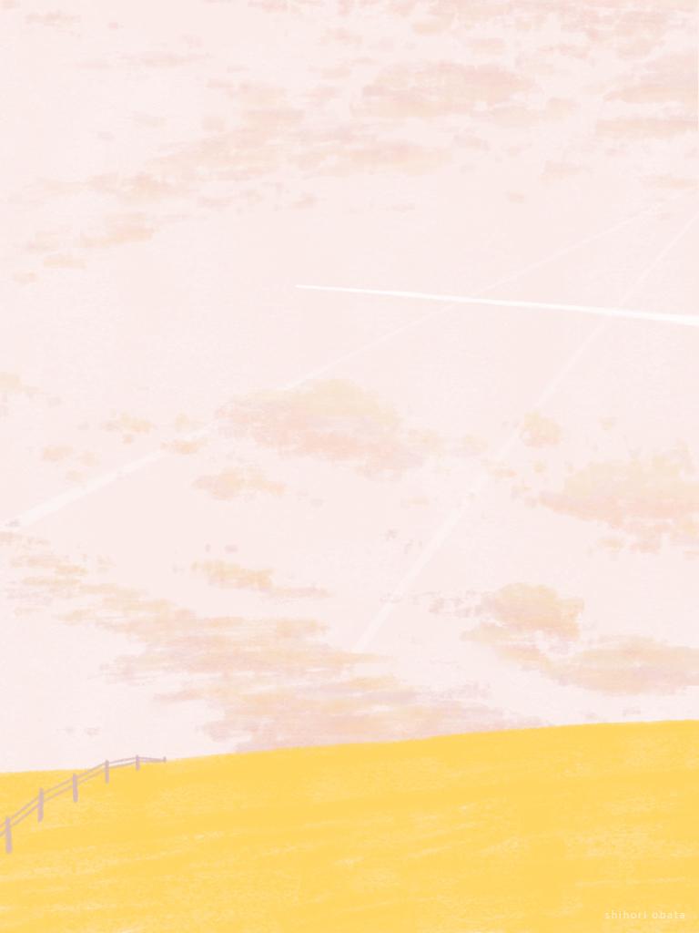 yellow field drawing illustration painting digital