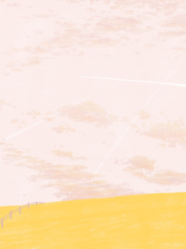 yellow field drawing illustration painting digital