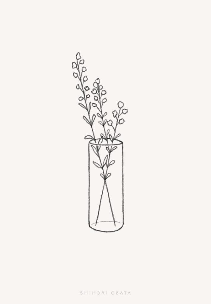 flowers in vase drawing