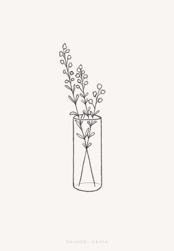 flowers in vase drawing