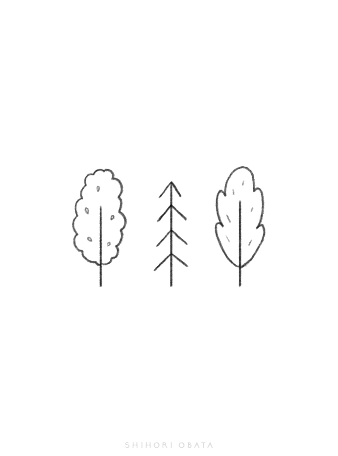 easy simple tree drawings