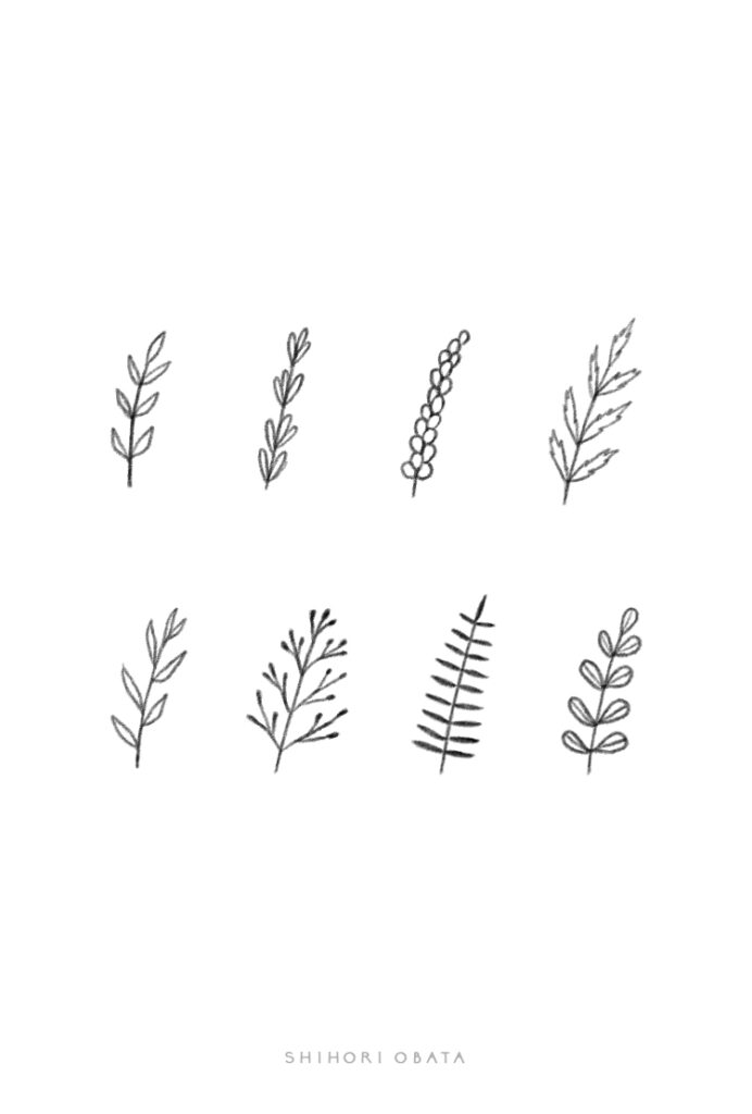 leaves drawing sprigs easy