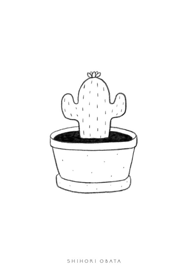 cactus drawing easy