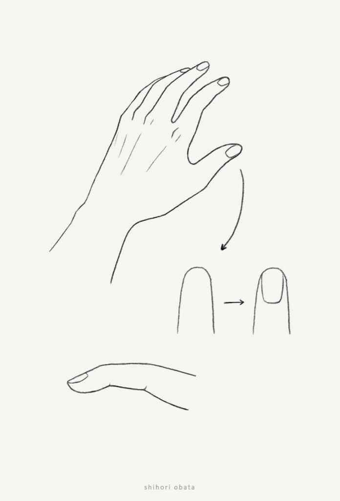 how to draw hands finger nails