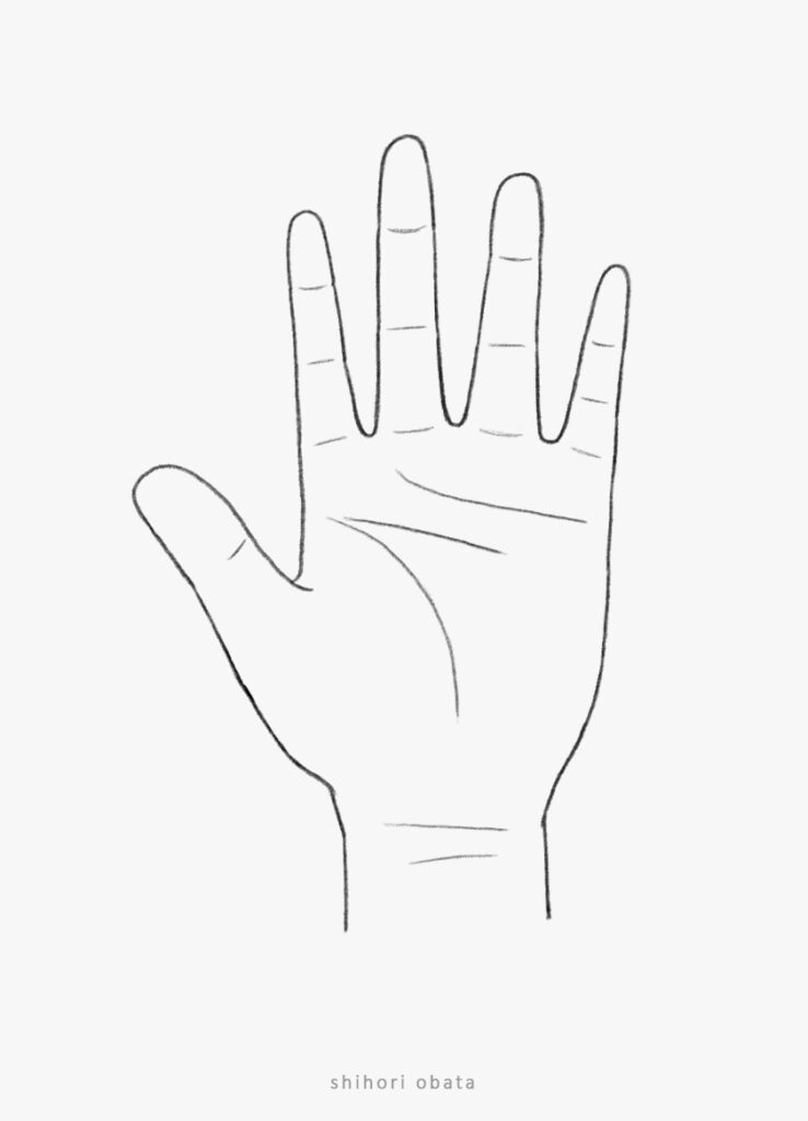 how to draw hand palm