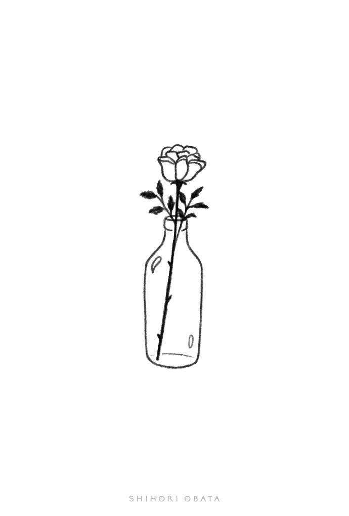 rose drawing easy simple