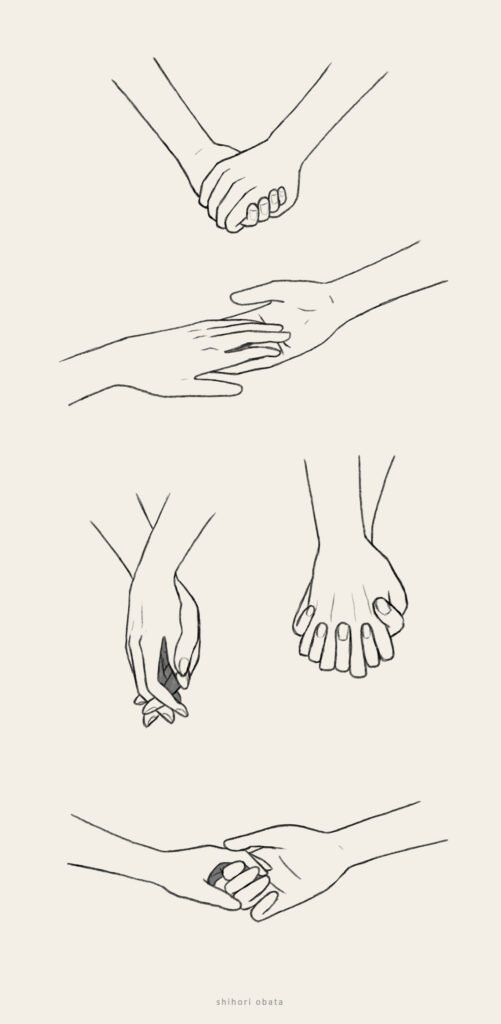 holding hands drawing anime easy
