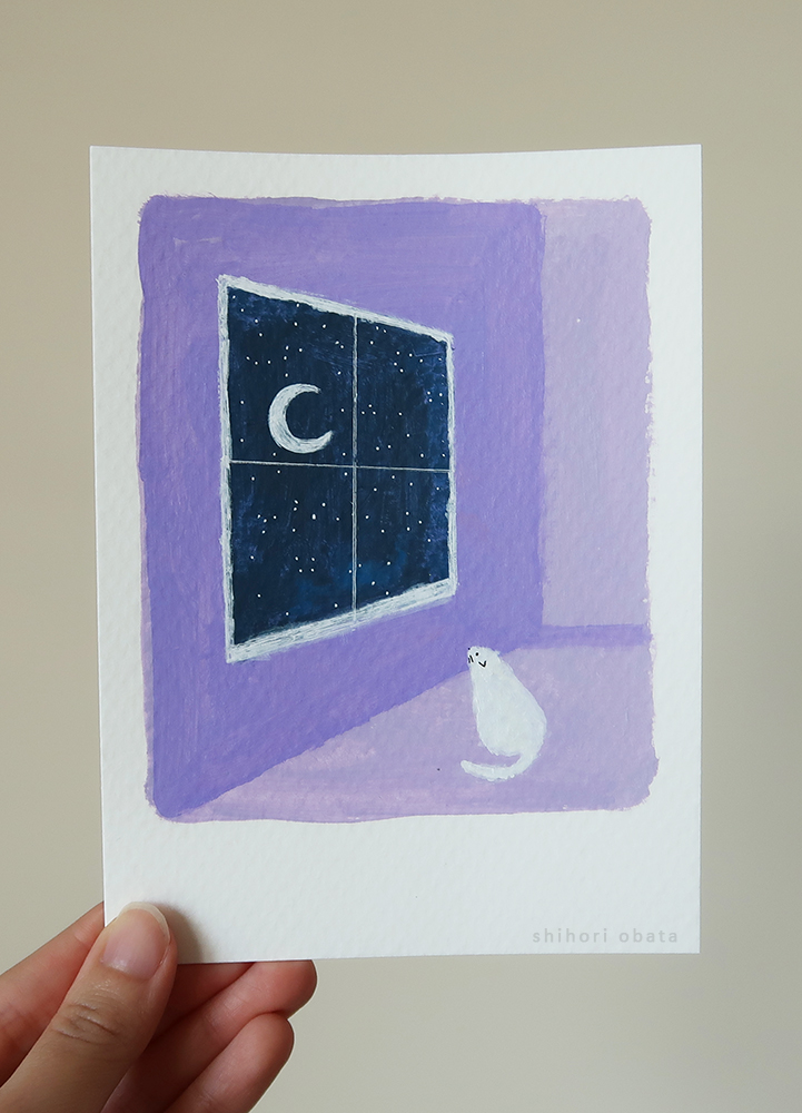 cat moon easy painting idea