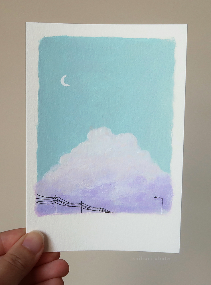 small easy acrylic painting idea clouds