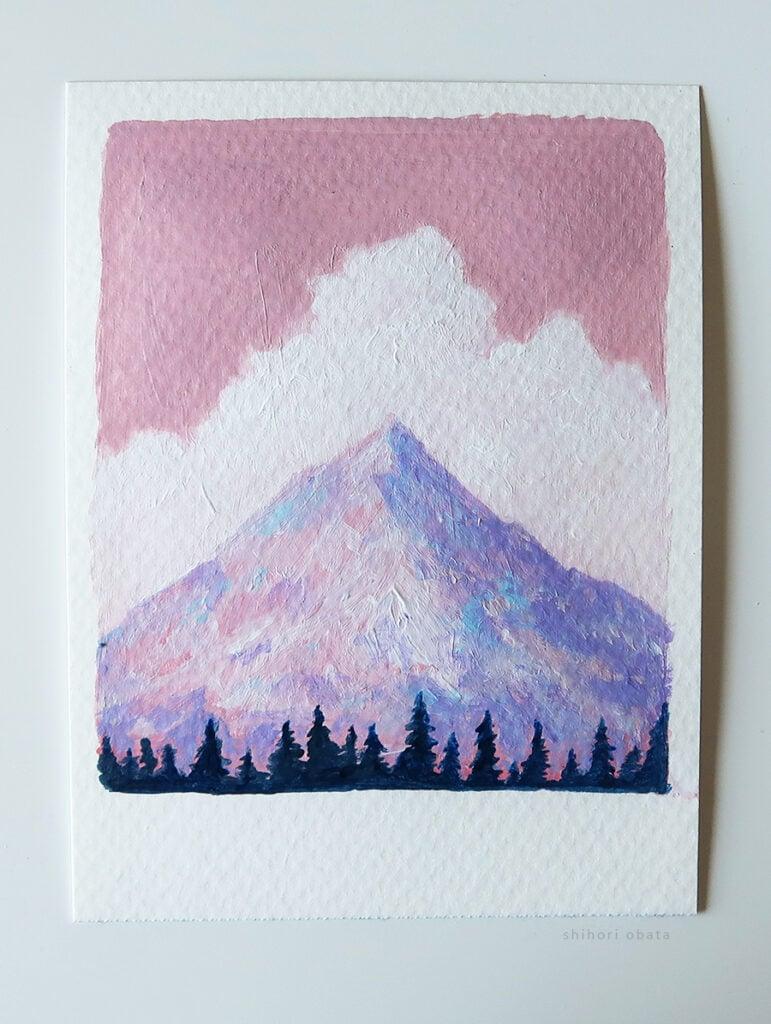 acrylic easy mountain painting