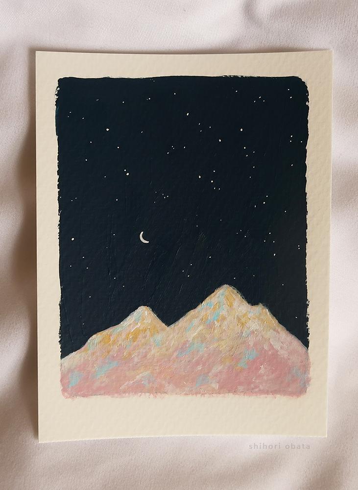 mountains easy acrylic painting idea